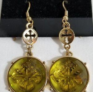Jewelry - New Cross Dangle Green Faceted Earrings